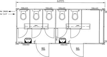 Toilettencontainer / WC-Container 2-geteilt mieten leihen